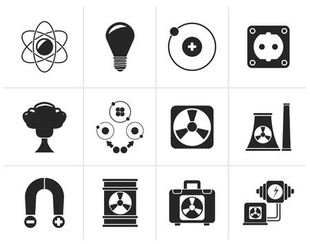 atomic: Black Atomic and Nuclear Energy Icons - vector icon set