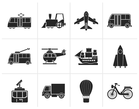 menu land: Black Travel and transportation icons - vector icon set Illustration