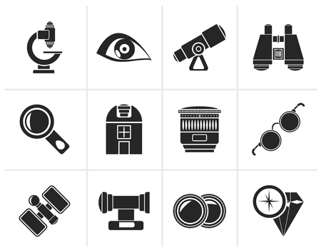 observatory: Black Optic and lens equipment icons - vector icon set Illustration