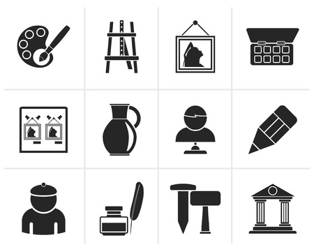 art museum: Black Fine art objects icons - vector icon set