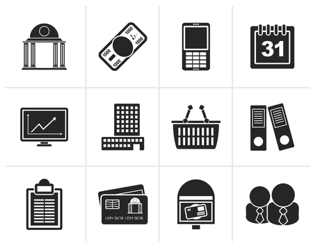 bank cart: Black Business and finance icons - vector icon set