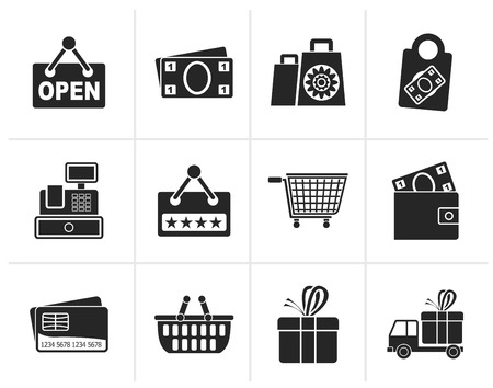 pocket book: Black shopping and retail icons - vector icon set Illustration