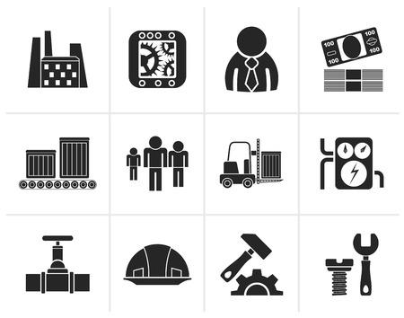 Black Business, factory and mill icons - vector icon set Illustration