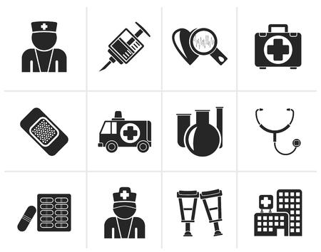 medico: Black Medicine and healthcare icons - vector icon set