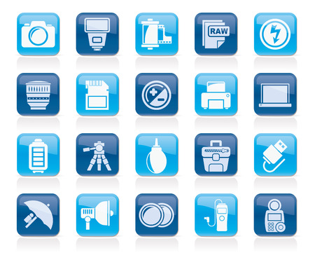 digicam: Camera equipment and photography icons - Vector Icon Set