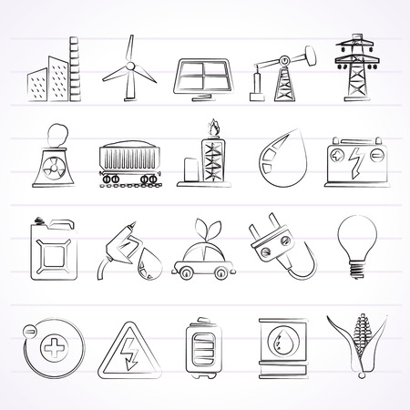 Power, energy and electricity Source icons - vector icon set Ilustrace