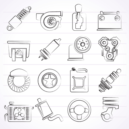 car brake: Car part and services icons  - vector icon set