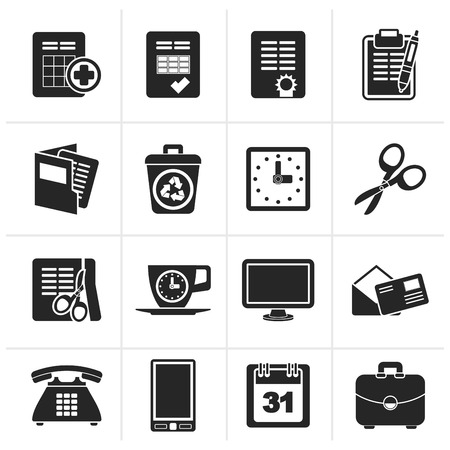 Black Business and office tools icons - vector icon set
