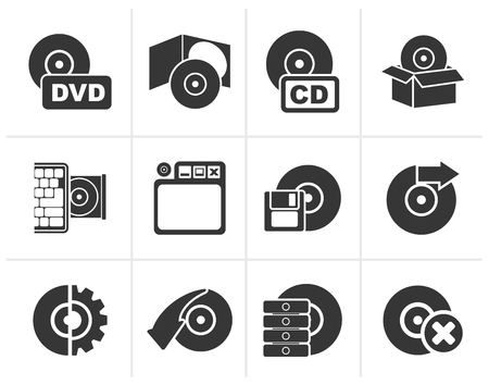 laptop vector: Black Computer Media and disk Icons - vector icon set Illustration