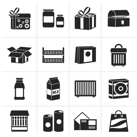 recycle symbol vector: Black different kind of package icons - vector icon set