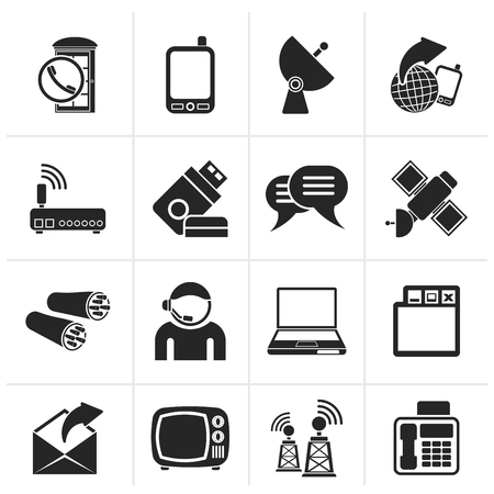 telephone booth: Black Communication, connection  and technology icons - vector icon set Illustration