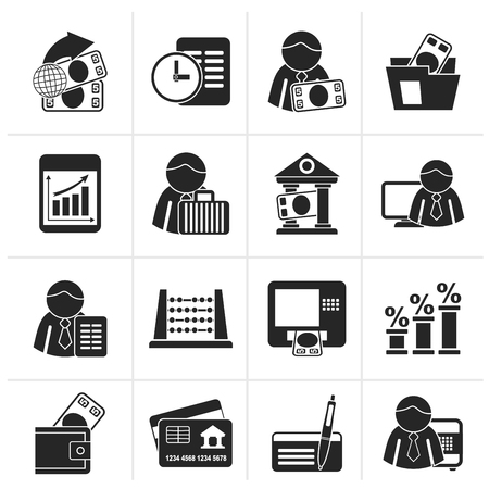 Black Bank and Finance Icons - Vector Icon Set Illustration