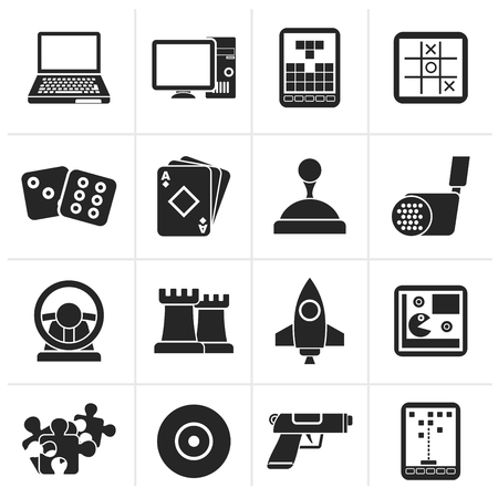 computer games: Black Computer Games tools and Icons - vector icon set