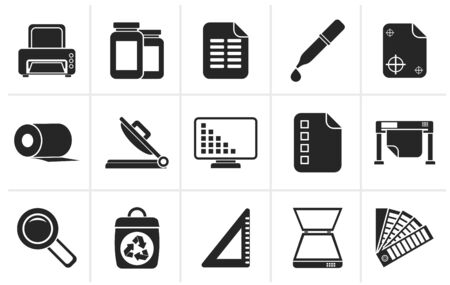 staining: Black Commercial print icons - vector icon set