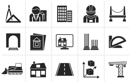 architecture: Black architecture and construction icons - vector icon set