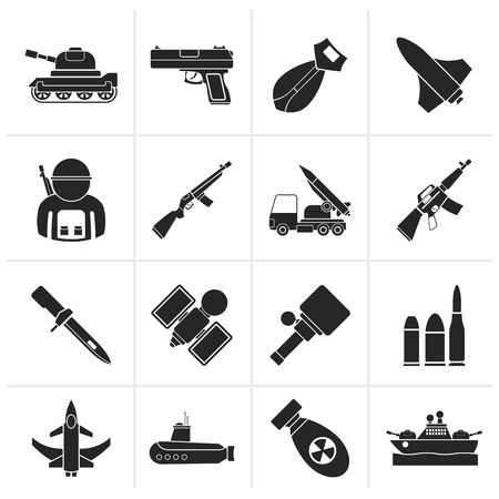 atom bomb: Black Army, weapon and arms Icons - vector icon set