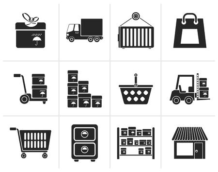 storage room: Black Storage, transportation, cargo and shipping icons - vector icon set Illustration