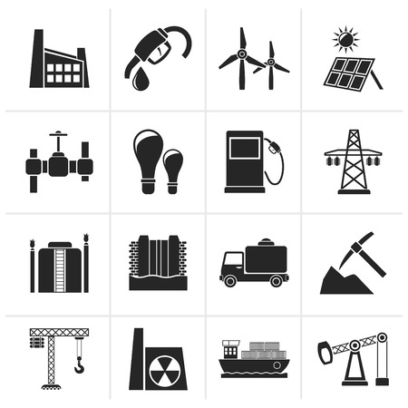 power station: Black Business and industry icons - vector icon set