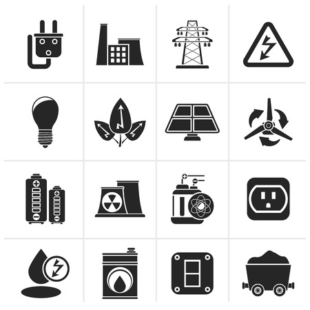 power pole: Black power, energy and electricity icons - vector icon set Illustration