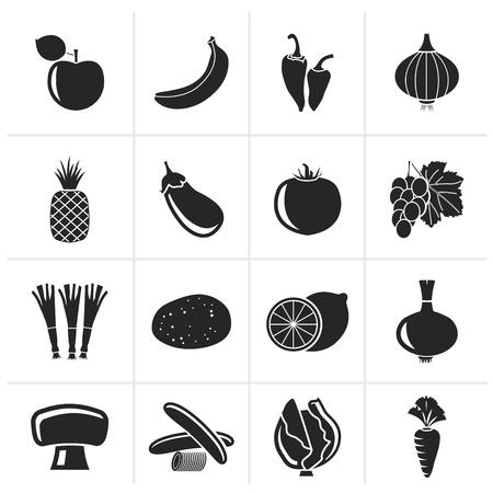 kind: Black Different kind of fruit and vegetables icons - vector icon set Illustration