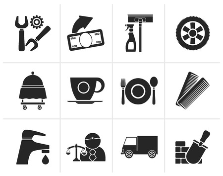 tire change: Black Services and business icons - vector icon set