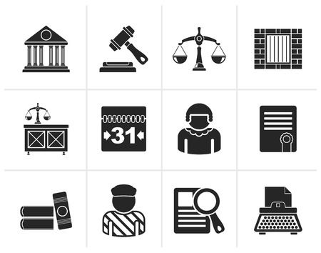 judicial: Black Justice and Judicial System icons - vector icon set