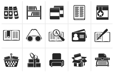 internet search: Black Library and books Icons - vector icon set