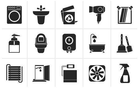black bathroom: Black Bathroom and toilet objects and icons - vector icon set