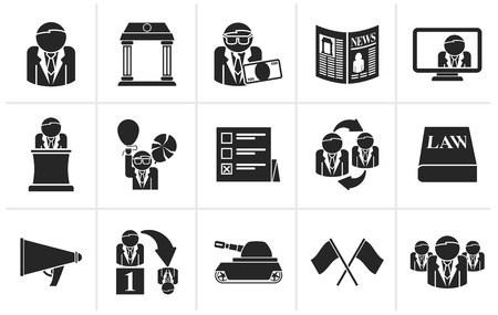 political party: Black Politics, election and political party icons - vector icon set