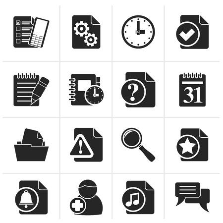 communication icons: Black Organizer, communication and connection icons - vector icon set Illustration