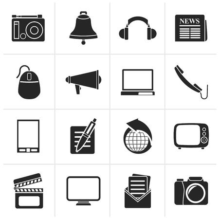Black Communication and media icons - vector icon set Illustration