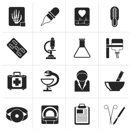 surgery doctor: Black Healthcare and Medicine icons - vector icon set