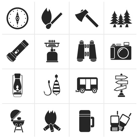 barbecue stove: Black Camping, travel and Tourism icons - vector icon set