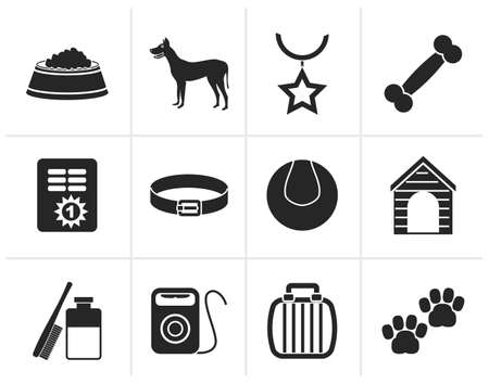 cary: Black dog accessory and symbols icons - vector icon set