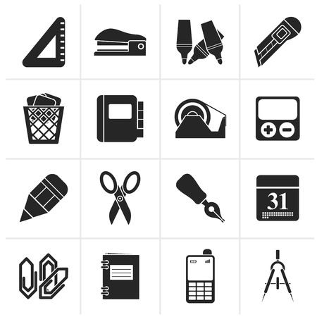 office icon: Black Business and office objects icons - vector icon set Illustration