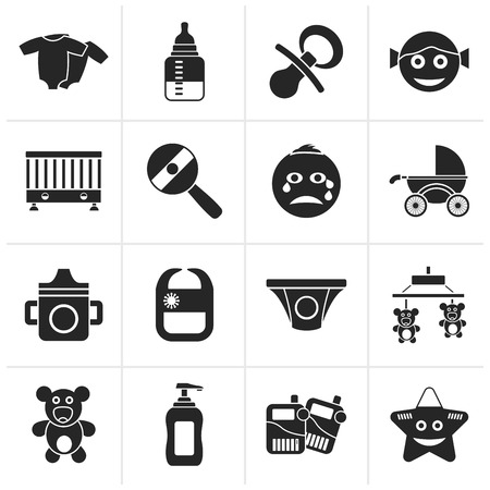 whelps: Black Baby, children and toys icons - vector icon set