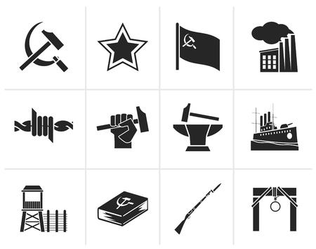 Black Communism, socialism and revolution icons - vector icon set Illustration