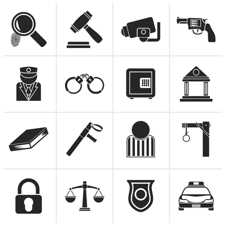 hanged: Black Law, Police and Crime icons - vector icon set