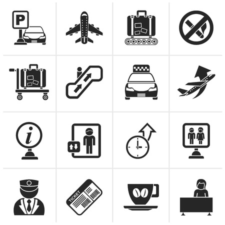 plane ticket: Black Airport and transportation icons - vector icon set