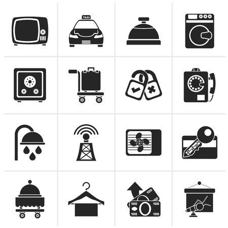 room air: Black Hotel and motel room facilities icons - vector icon set