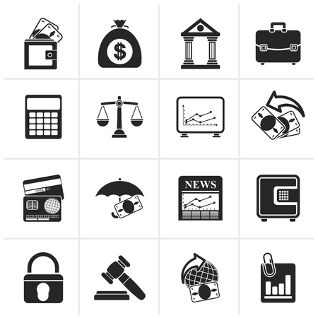 finance icons: Black Business, finance and bank icons - vector icon set