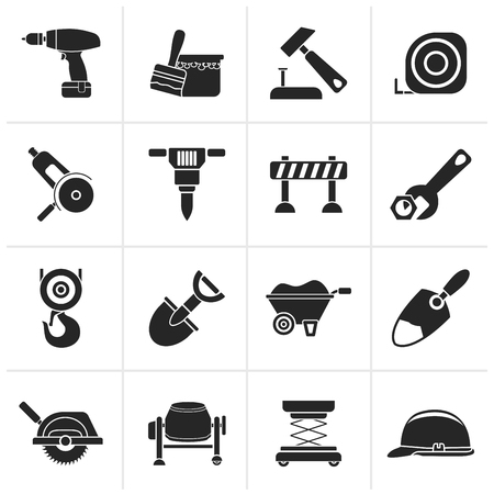 computer repairing: Black building and construction icons - vector icon set Illustration