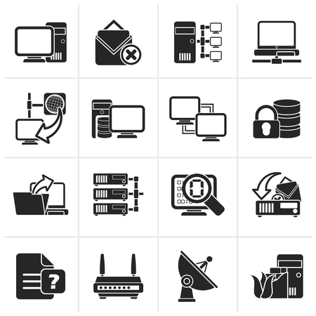 Black Computer Network and internet icons - vector icon set