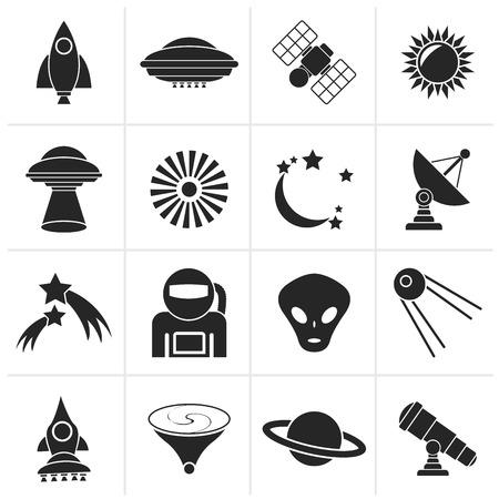 astronautics: Black astronautics, space and universe icons - vector icon set