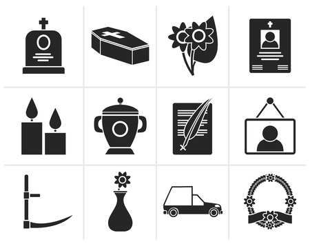 background photo: Black funeral and burial icons - vector icon set Illustration