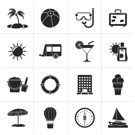 holiday icons: Black Vacation and holiday icons - vector icon set Illustration