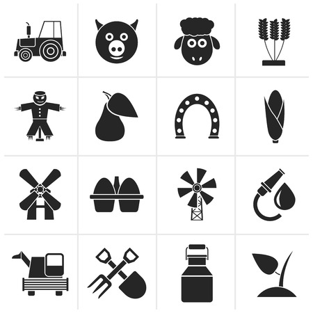 fruit eater: Black Agriculture and farming icons - vector icon set