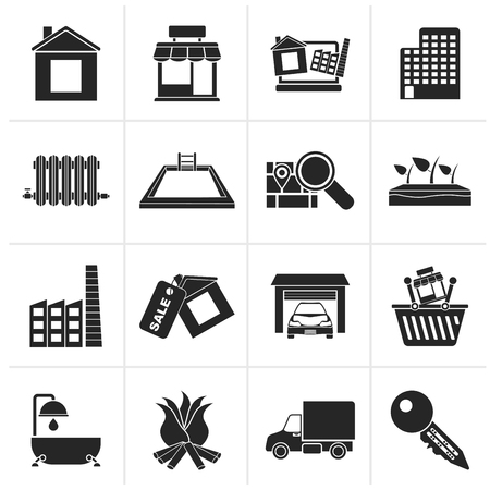 menu land: Black Real Estate and building icons - Vector Icon Set Illustration