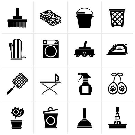 objetos de la casa: Negro hogar objetos y herramientas de iconos - Vector Icon Set