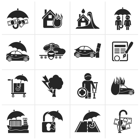 family policy: Black Insurance and risk icons - vector icon set
